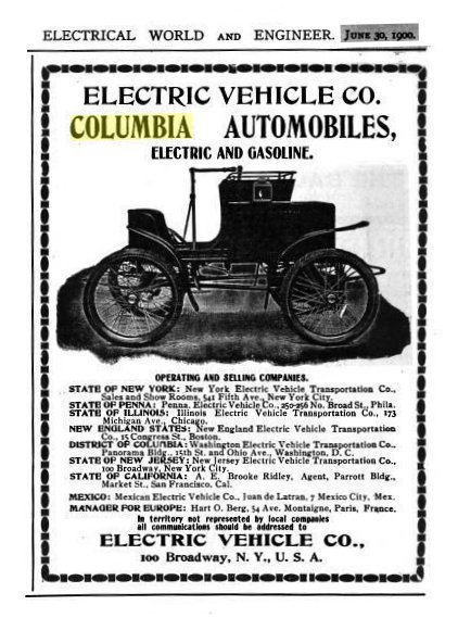 Electric Vehicle Company Columbia Cars Catalogue