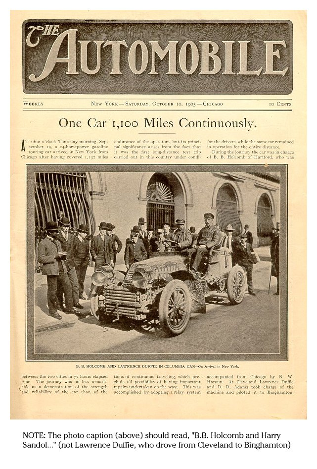 1903 Record Run Chicago To New York