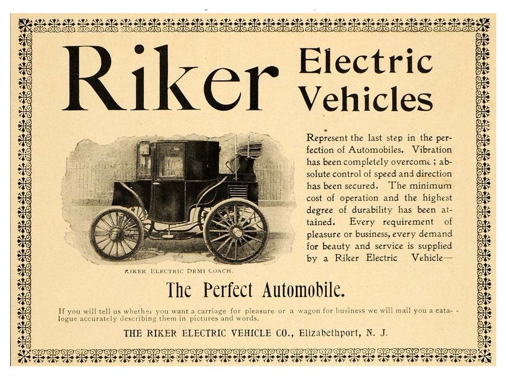 Riker Automobiles Before They Merge Into Electric Vehicle Company