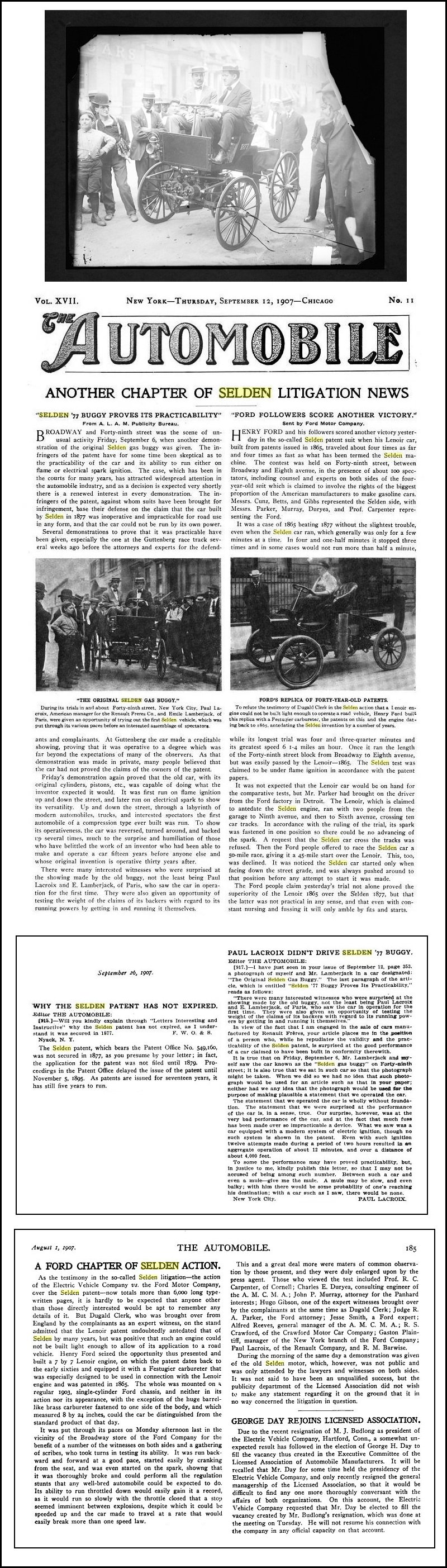 During These Tests The Selden Buggy Was Equipped With Electric Ignition Car S Average Sd Only Seven Miles And Hour